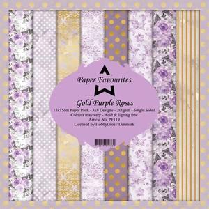 Bilde av Paper Favourites - 6x6 Paper Pad - PF119 - Gold Purlple Rose