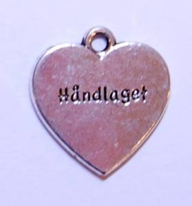 Bilde av Charms - Tekst - Hjerte - Håndlaget sølv - 6 stk