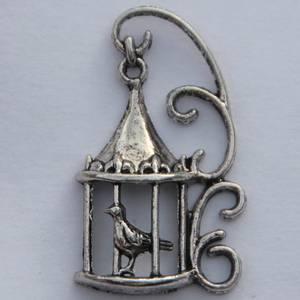 Bilde av Charms - Fugl i bur - Sølv - 4 stk