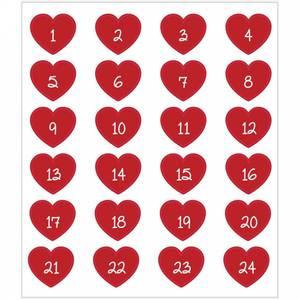 Bilde av Creotime - Stickers - 29115 - Kalendertall - Røde hjerter