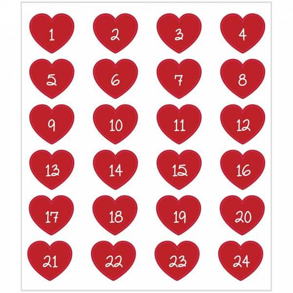 Creotime - Stickers - 29115 - Kalendertall - Røde hjerter