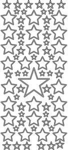 Bilde av Klistremerker - 0183 - Outline stickers - Stjerner - Sølv