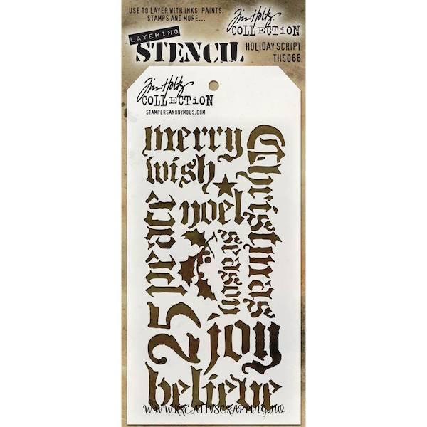 Tim Holtz - Layered Stencil - THS066 - HOLIDAY SCRIPT *