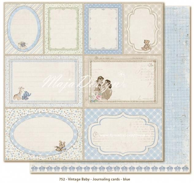 MAJA DESIGN - 752 - Vintage Baby - JOURNALING CARDS BLUE