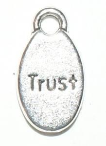 Bilde av Charms - Tekst - Oval - Trust - Sølv -10stk