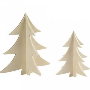 Bilde av Wood - 3D juletre - 2 stk - H: 13 + 18 cm