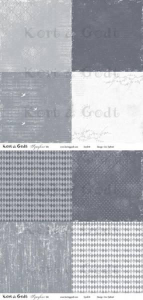 Kort & Godt - Mønsterpapir 107451 - Symfoni blå - 0475