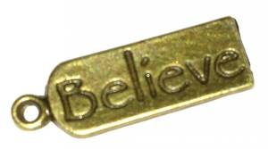 Bilde av Charms - Tekst - Tags - Belive - Bronse - 12stk