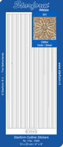 Bilde av Starform - Stickers - Border Lines - Glitter Gold w/Silver lines