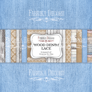 Bilde av Fabrika Decoru - 6x6 paper pack - 03013 - Wood Denim Lace