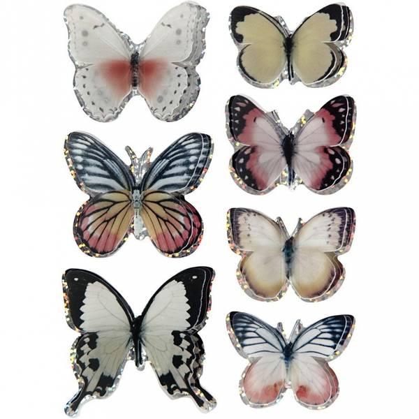 3D Stickers - sommerfugl 7stk - ass farger