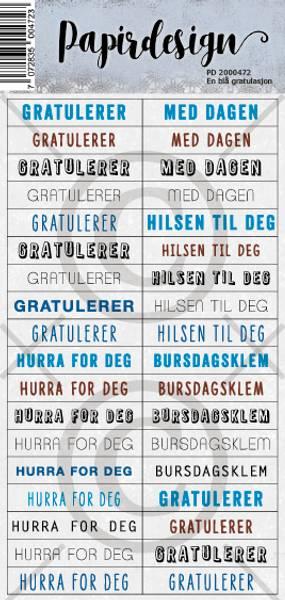 Papirdesign - Klistremerker - 2000472 - En blå gratulasjon