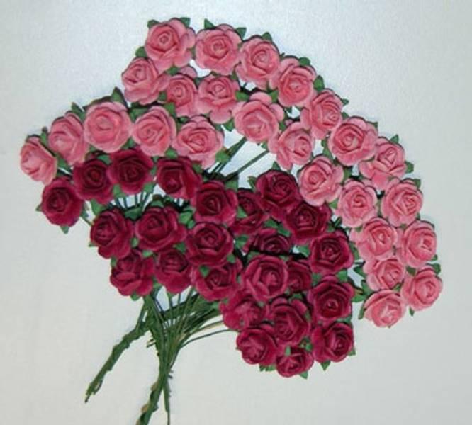 Papirdesign - Roser - 1,2cm - Rosa og mørk rosa