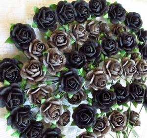 Bilde av Papirdesign - Roser - 1,2cm - Grå og sort