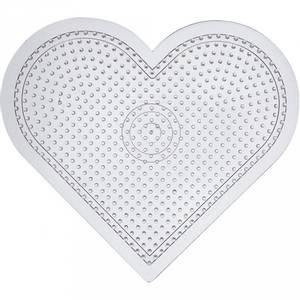Bilde av Perlebrett - Nabbi Beads - Transparent Hjerte stor - 14x16cm