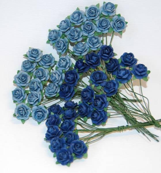 Papirdesign - Roser - 1,0cm - Lys og mørk blå