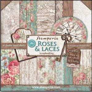 Bilde av Stamperia - 12x12 Paper Pack - 25 - Roses & Laces