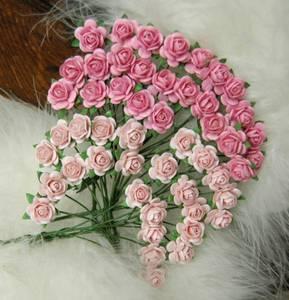 Bilde av Papirdesign - Roser - 1,0cm - Rosa og lys rosa