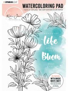 Bilde av Studiolight - Watercoloring Pad A5 - WCPKJ01 - Karin Joan Bloomi