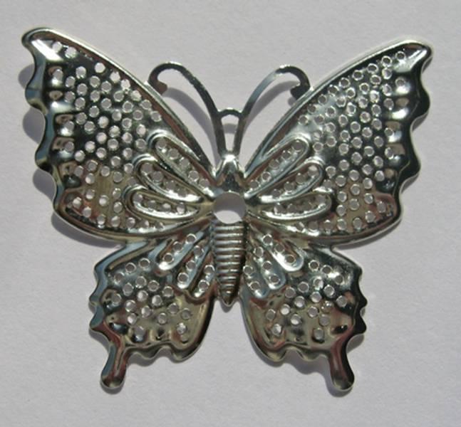 Charms - Sommerfugl stor - sølv - 6 stk