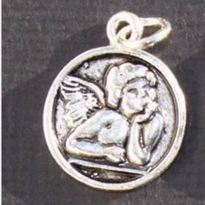 Bilde av Charms - Engel - Rund medaljong - Sølv -  8 stk