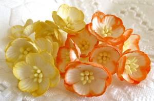 Bilde av Papirdesign - Kirsebærblomst - orange og gul