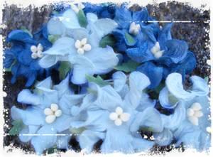 Bilde av Papirdesign - Gardenia, små - Mørk og lys blå