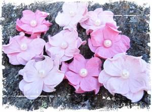 Bilde av Papirdesign - Hortensia, liten med perle - rosa