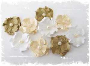 Bilde av Papirdesign - Hortensia, liten med perle - beige