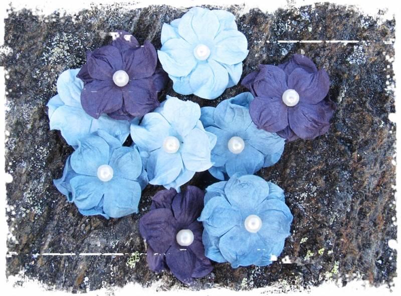 Papirdesign - Hortensia, liten med perle - blå