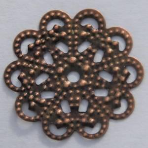 Bilde av Metall - Ornament Rund Blomst - Kobber - 14 stk