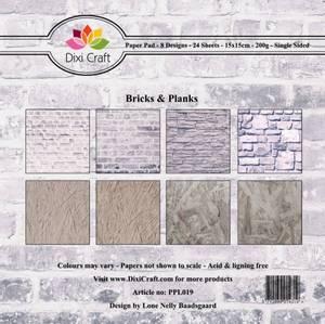 Bilde av Dixi Craft - Paper Pad 15x15 - 019 -Bricks & Planks