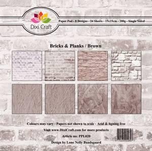 Bilde av Dixi Craft - Paper Pad 15x15 - 020 - Bricks & Planks Brown
