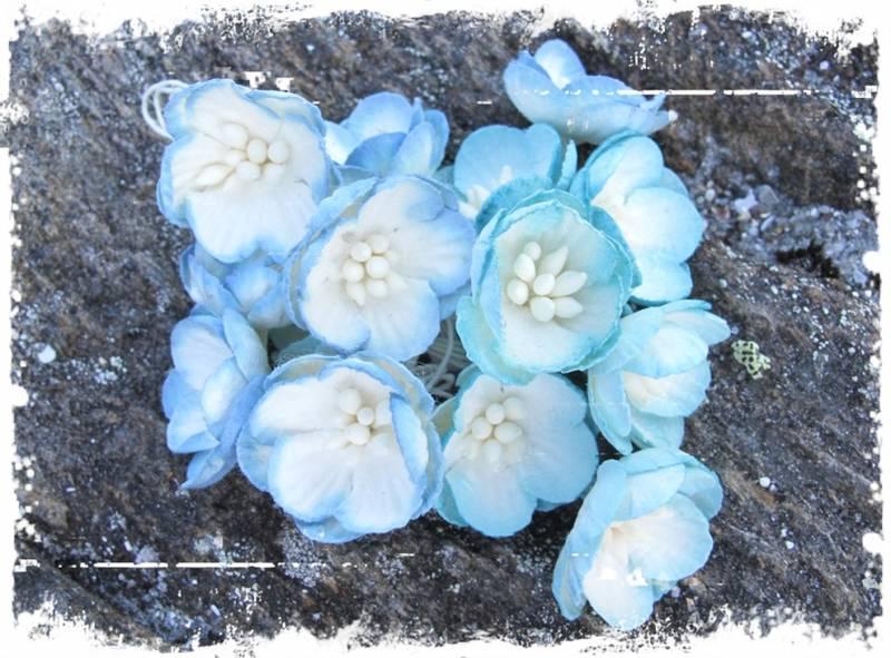 Papirdesign - Kirsebærblomst - blå