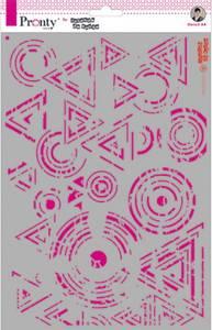 Bilde av Pronty Crafts - Stencil - A4 - Triangles & Circles Grunge