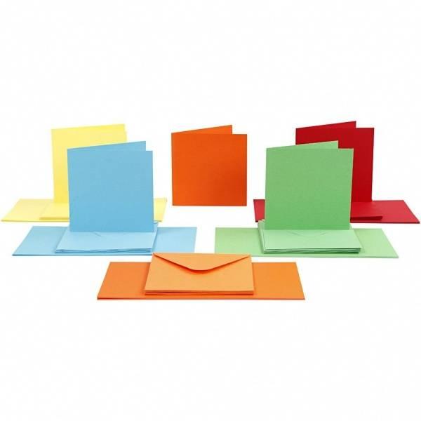 CCH - Kort og konvolutter 15x15 - 50 stk - ass. farger