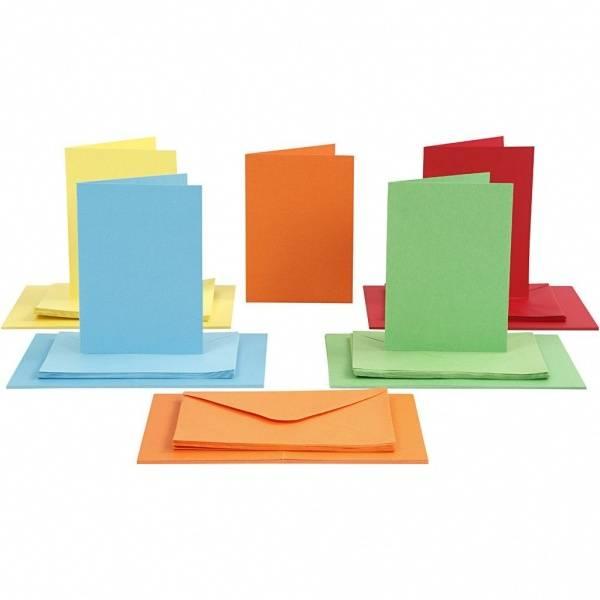 CCH - Kort og konvolutter 10,5x15 - 50 stk - ass. farger