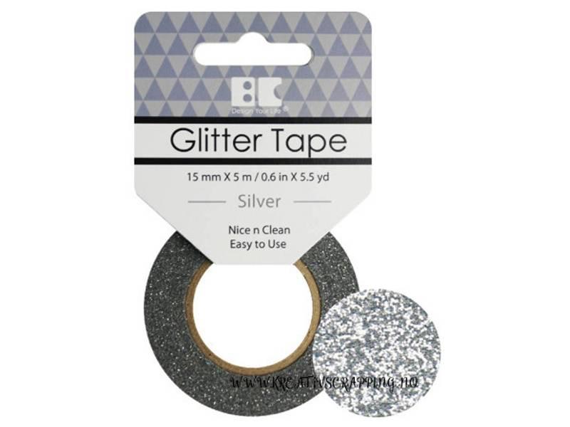 BC - Glitter Tape - 15mm x 5m - 001 - Silver