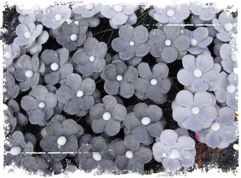 Papirdesign - Søte blomster grå