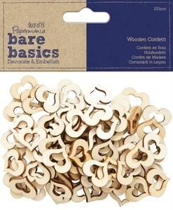 Bilde av Papermania - Bare basics - Wooden Heart Confetti - 100 stk
