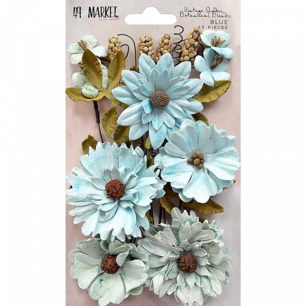 49 and Market - Vintage Shades Botanical Blend Flowers - Blue