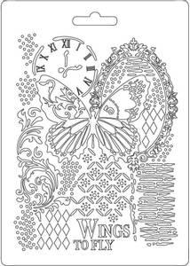 Bilde av Stamperia - Soft Mould - A5 - 510 - Butterfly & Manuscripts 2