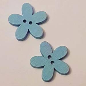 Bilde av Knapper - Blomst i tre - 27 mm - blå - 20stk