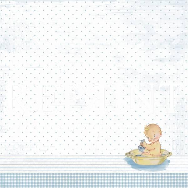 Reprint - 12x12 - RP0337 - It´s a boy - Baby in bath tub