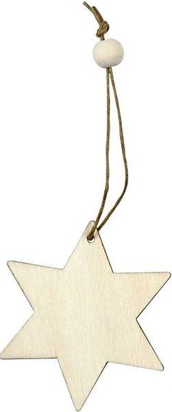 Wood - Treoppheng - Stjerne - 6 cm