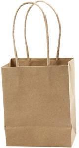 Bilde av Papirpose med hank - H: 17 cm, B: 12x7 cm - Kraft - 1 stk