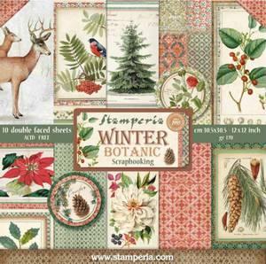 Bilde av Stamperia - 12x12 Paper Pack - 44 - Winter Botanic