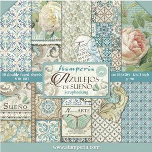 Bilde av Stamperia - 12x12 Paper Pack - 55 - Azulejos