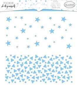Bilde av Aladine - Stencil - 15x15cm - Duo Stars & Triangles