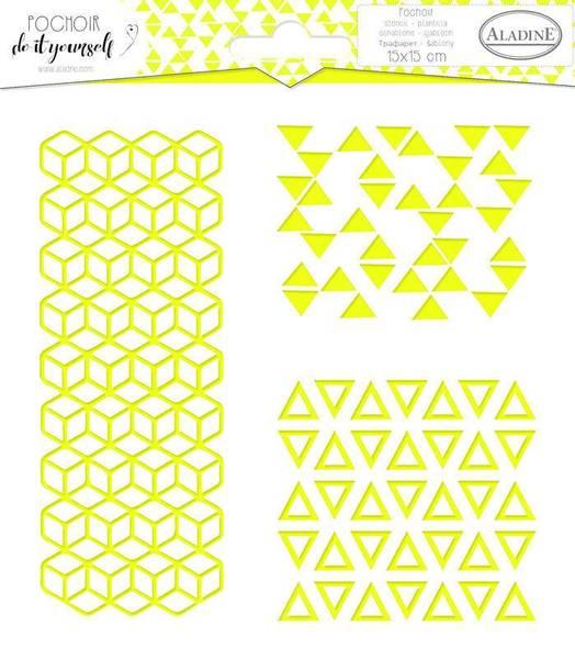 Aladine - Stencil - 15x15cm - Trio Geometry 2
